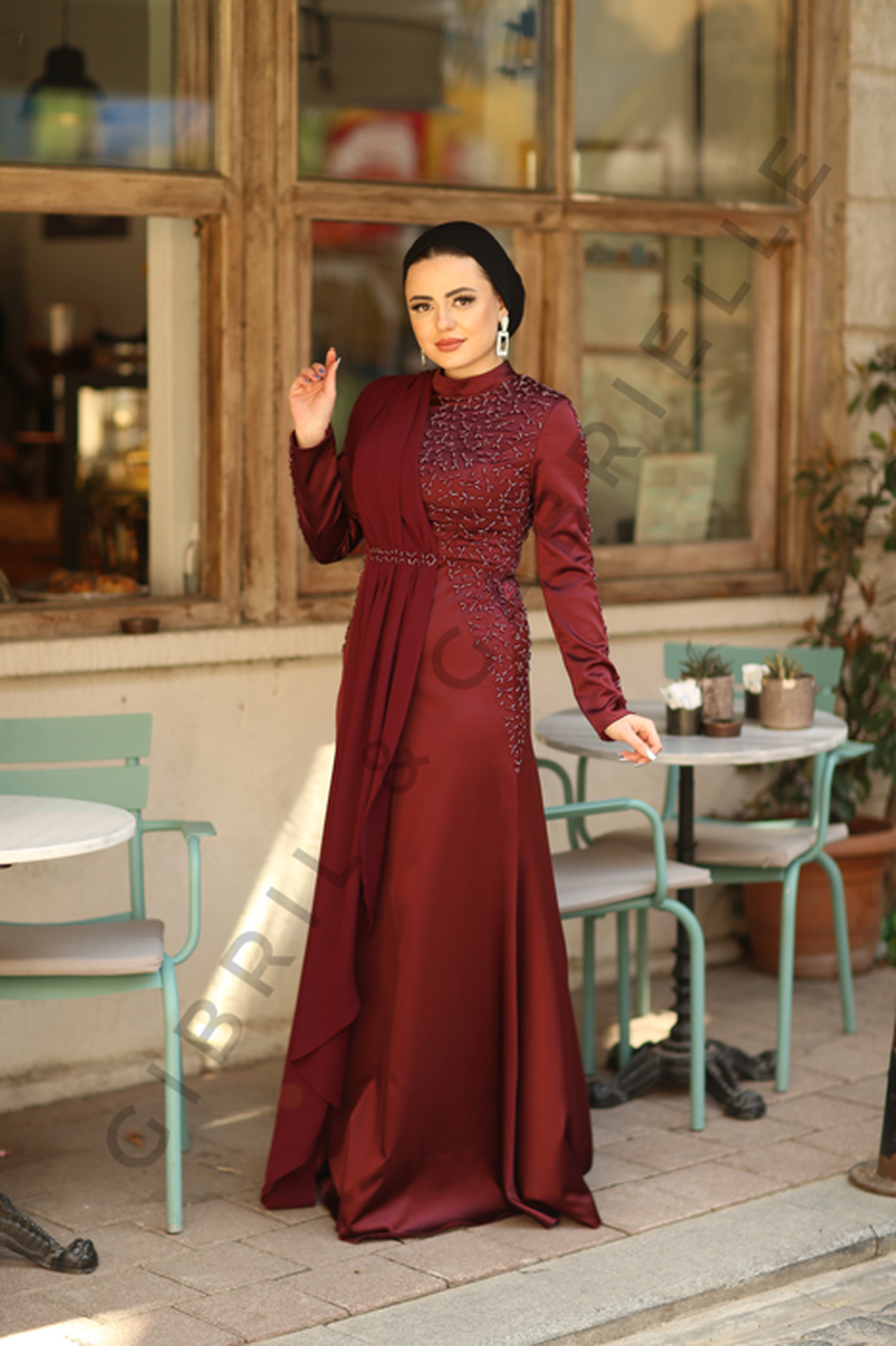 Gibril & Gabrielle - Açelya Bordo Elbise