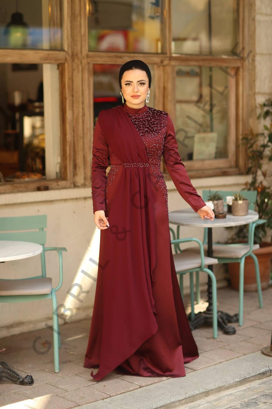 Açelya Bordo Elbise