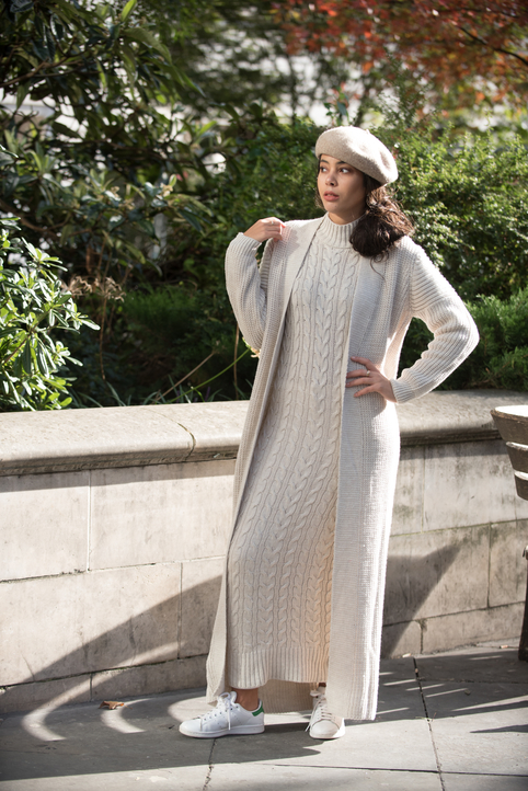 Gibril & Gabrielle - Aya Co-ord Knit Dress and Cardigan - Beige