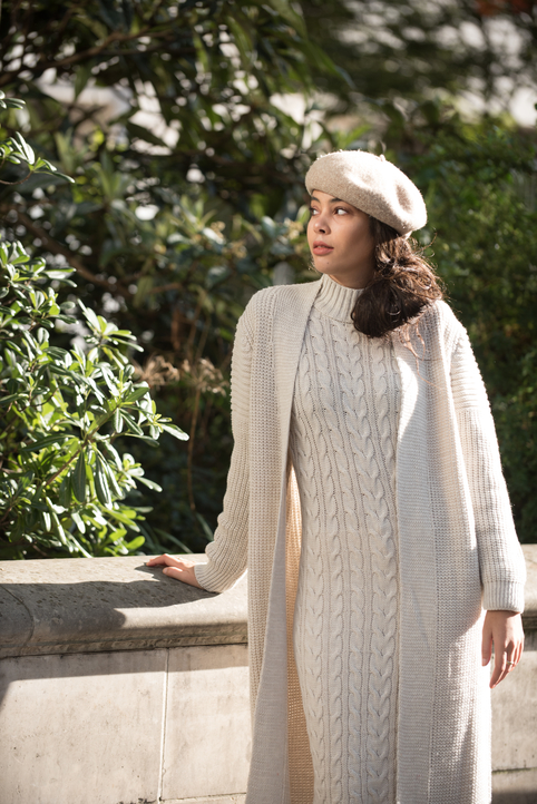 Aya Co-ord Knit Dress and Cardigan - Beige