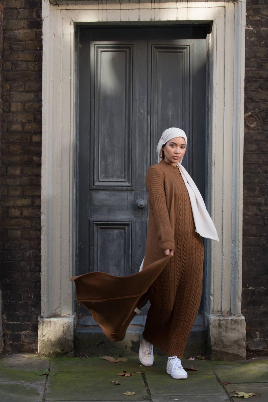 Aya Co-ord Knit Dress and Cardigan - Camel