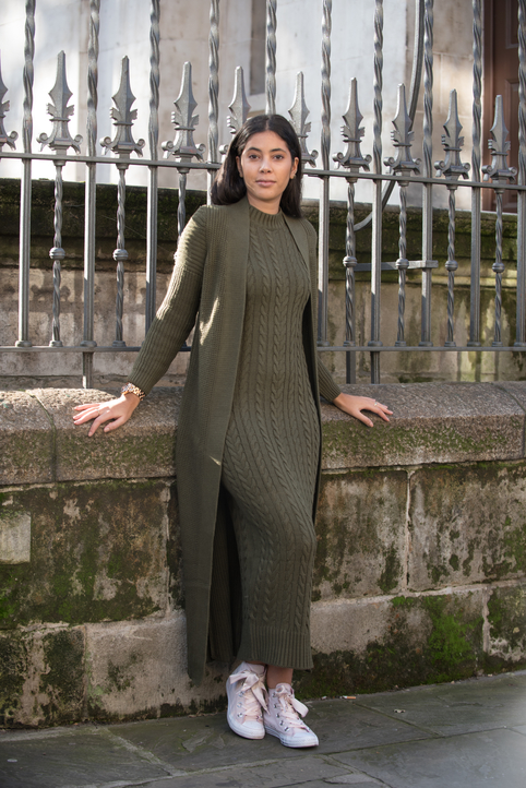 Aya Co-ord Knit Dress and Cardigan - Kaki