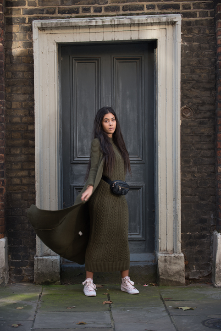 Aya Co-ord Knit Dress and Cardigan - Kaki