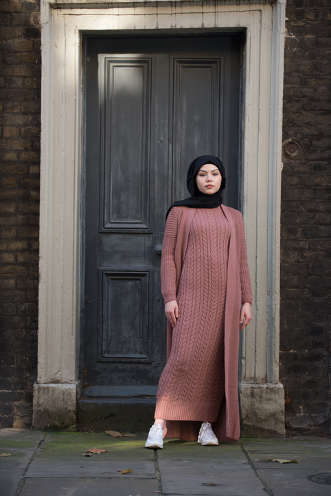 Gibril & Gabrielle - Aya Co-ord Knit Dress and Cardigan - Old Pink