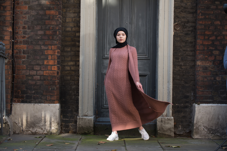 Aya Co-ord Knit Dress and Cardigan - Old Pink