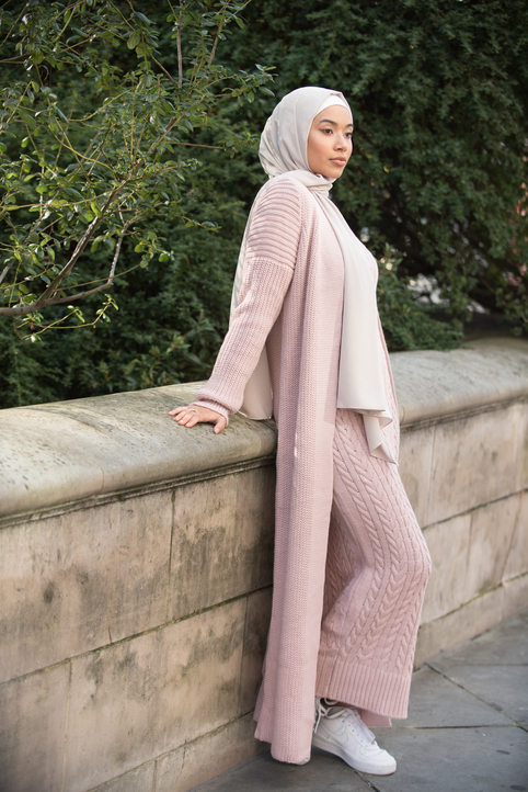 Aya Co-ord Knit Dress and Cardigan - Pink