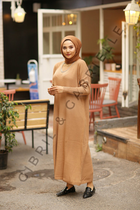 Camel Açelya Knit Dress