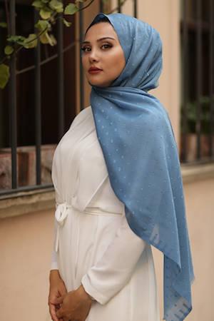 Gibril & Gabrielle - Dotted cotton Hijab - Pastel Blue