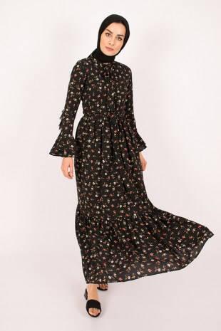 Flowers Black Dress