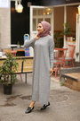 Grey Açelya Knit Dress - Thumbnail