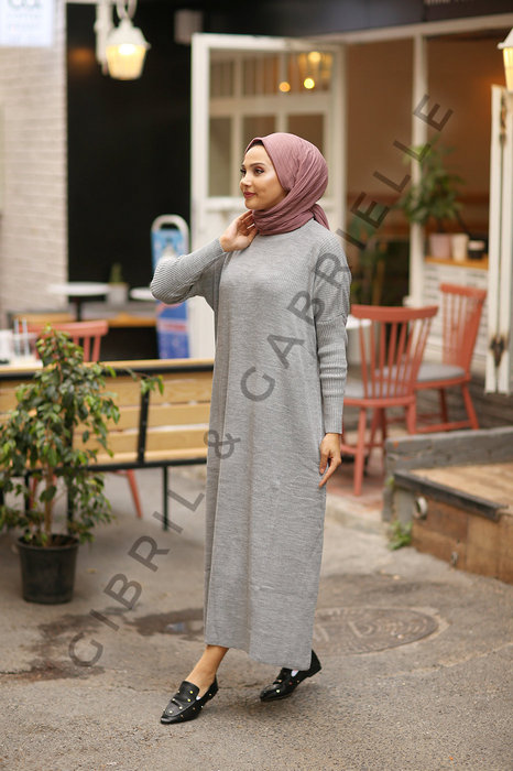 Grey Açelya Knit Dress