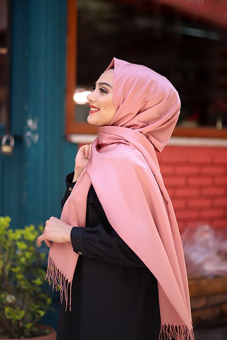 Old Pink Hijab With Fringes