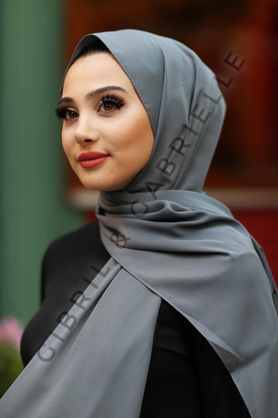 Madina Silk Hijab - Anthracite