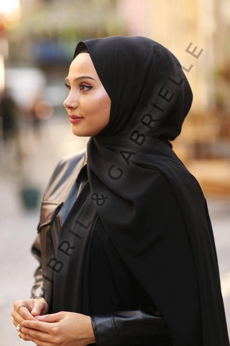 Madina Silk Hijab - Black