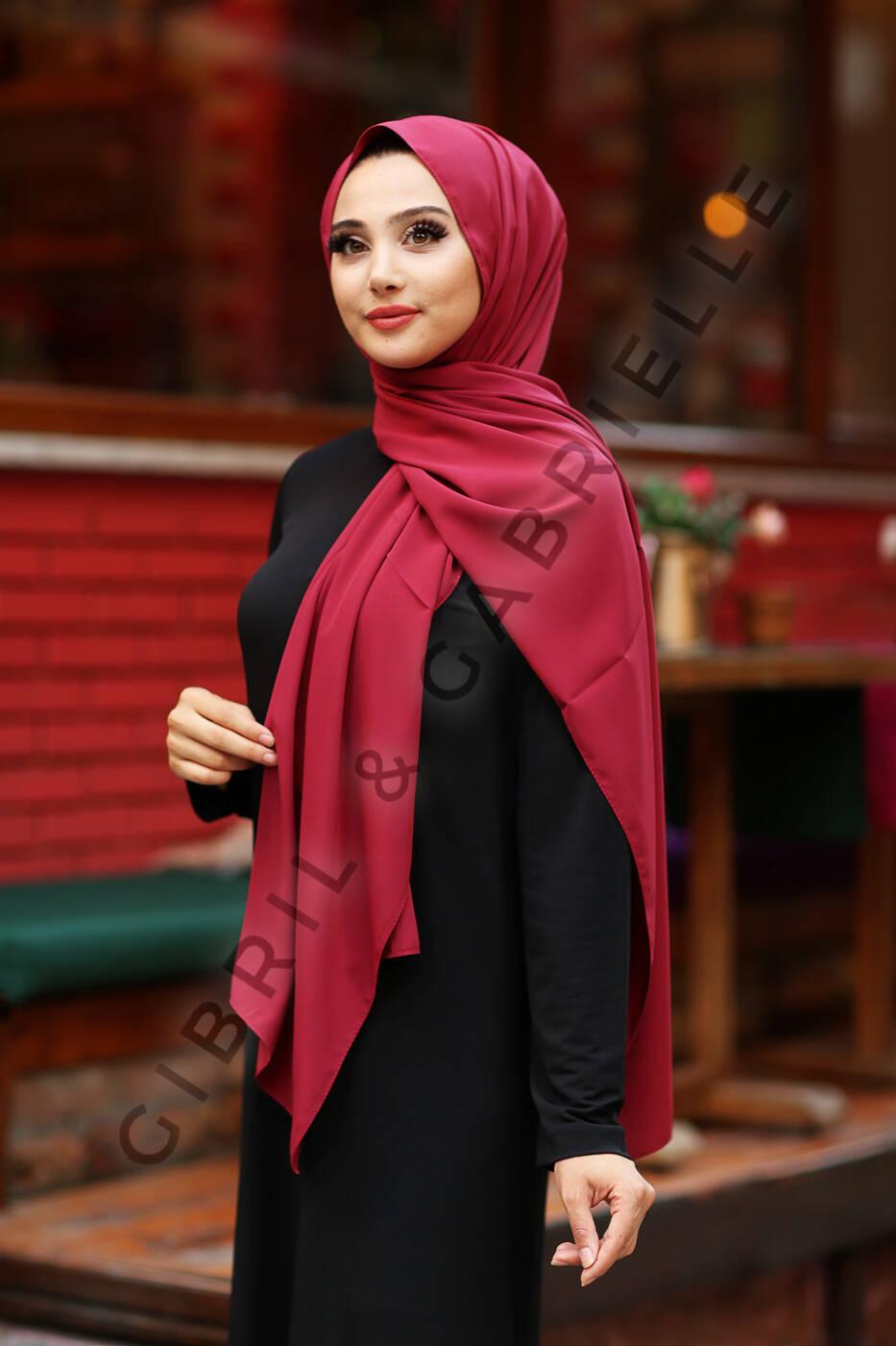 Gibril & Gabrielle - Madina Silk Hijab - Burgundy