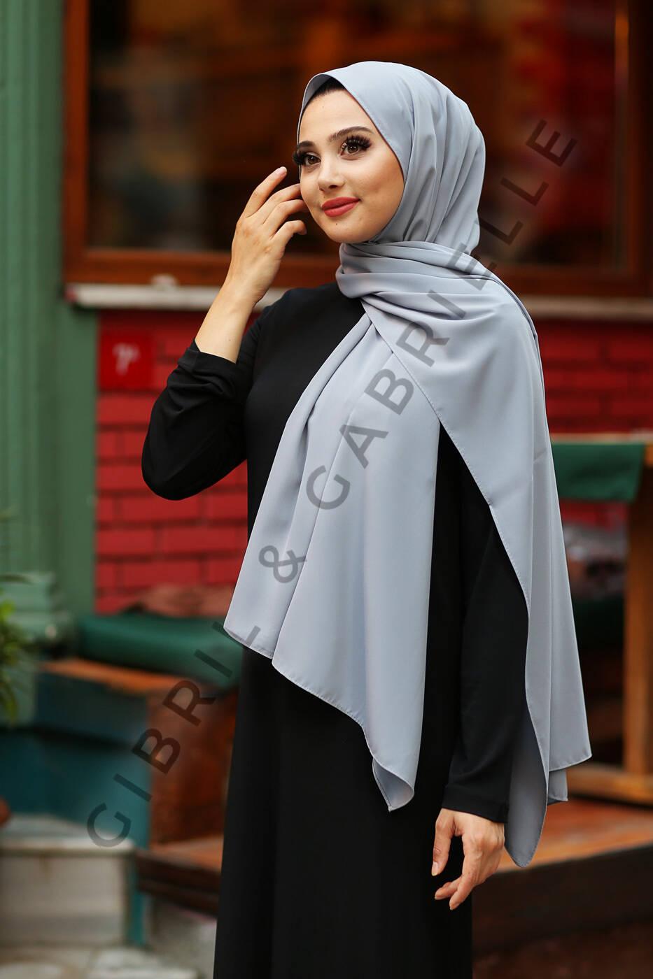 Madina Silk Hijab - Grey