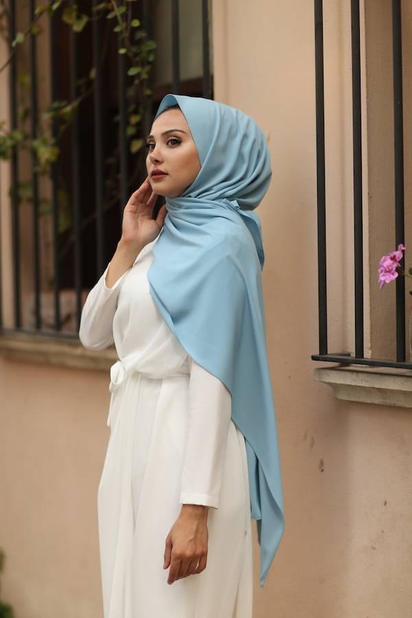 Gibril & Gabrielle - Madina Silk Hijab - Horizon Blue