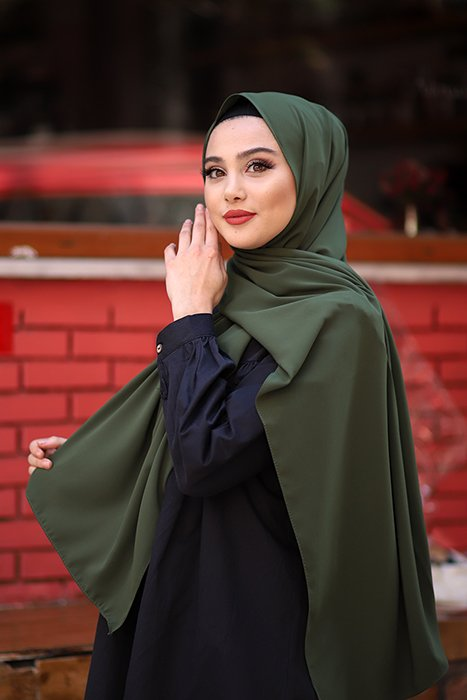 Madina Silk Hijab - Khaki