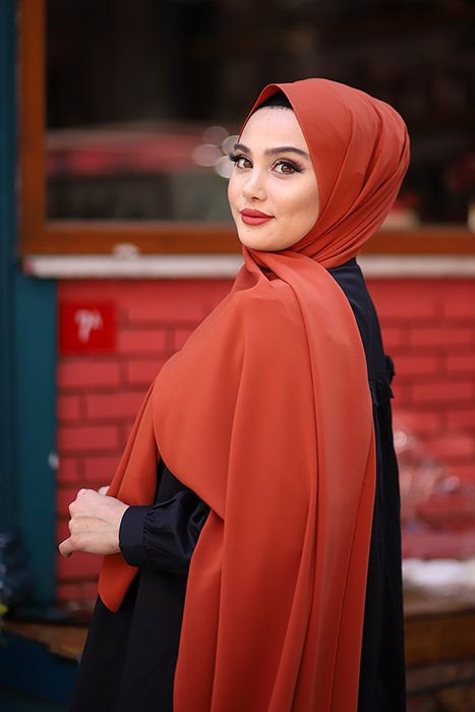 Madina Silk Hijab - Saffron