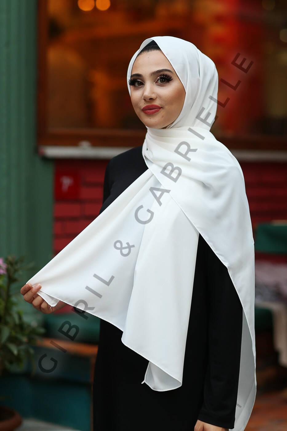Madina Silk Hijab - White