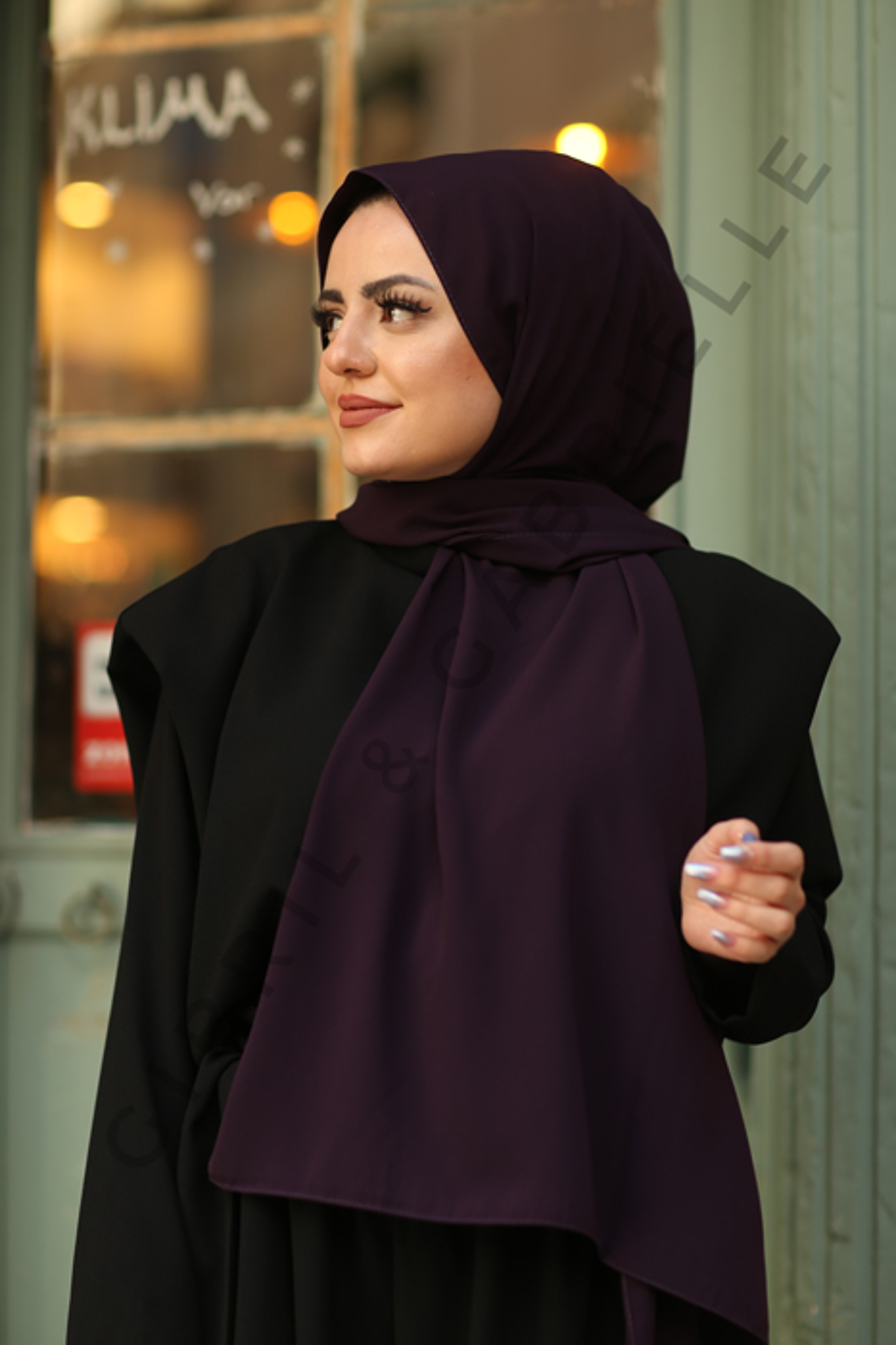 Gibril & Gabrielle - Madina Silk Hijab - Dark Purple