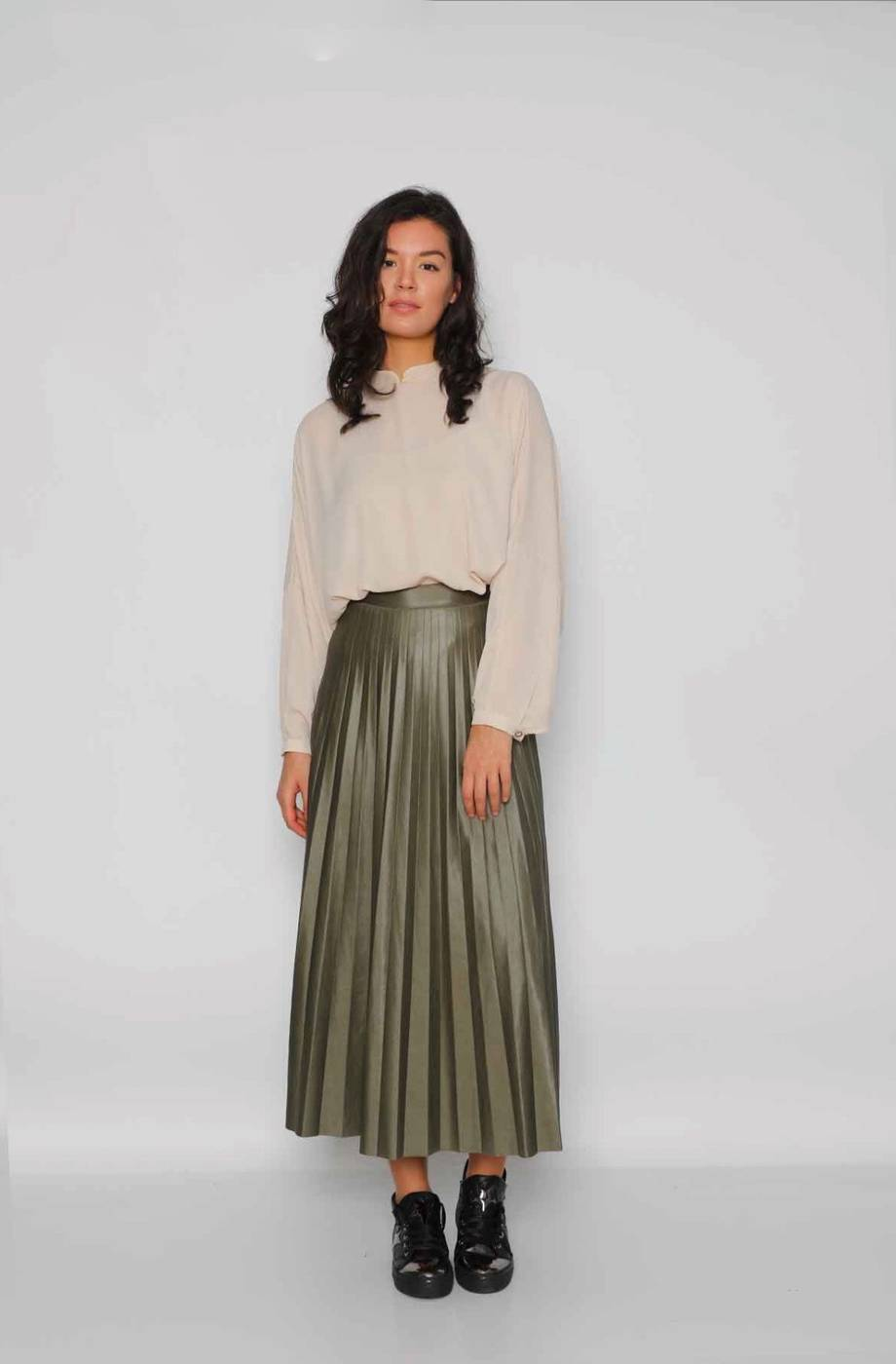 Gibril & Gabrielle - Leather Effect Pleated Maya Skirt - Kaki