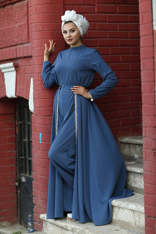 Gibril & Gabrielle - Nayla Evening Jumpsuit with Detachable Train - Indigo Blue