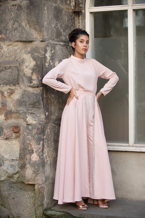 Nayla Evening Jumpsuit with Detachable Train - Pink