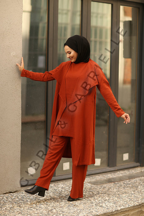 Gibril & Gabrielle - Rust Talya 3 pieces Co-ord Knit Set