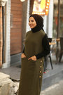 Sleeveless Knit Dress/Tunique Arya- Khaki - Thumbnail