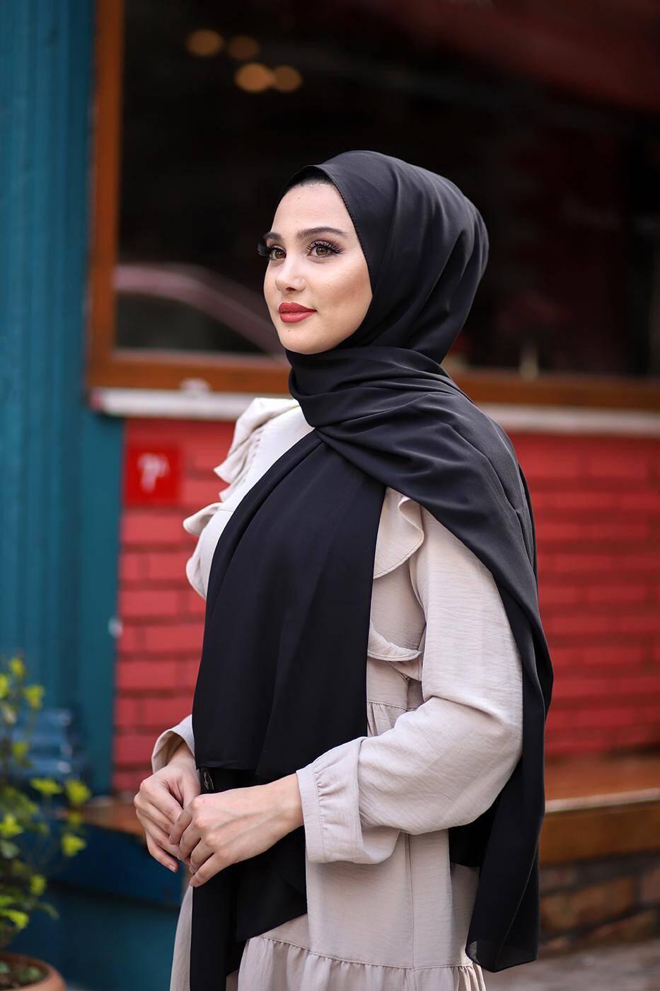 Gibril & Gabrielle - Soft Crepe Hijab Black