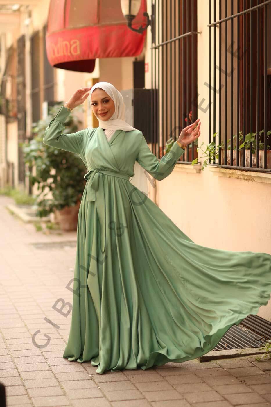 Gibril & Gabrielle - Su Yeşili Mennel Elbise