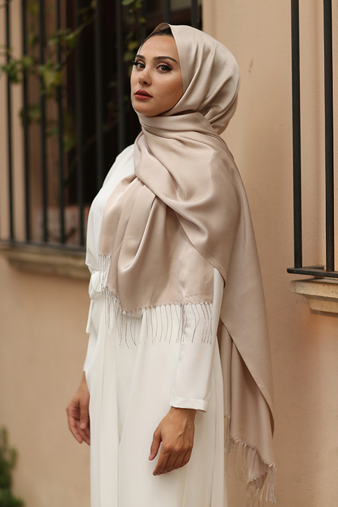 Gibril & Gabrielle - Taupe Plain Hijab With Fringes