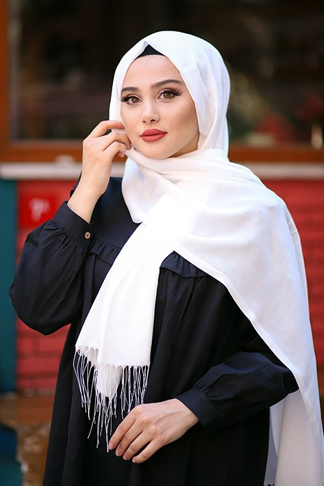 White Hijab With Fringes
