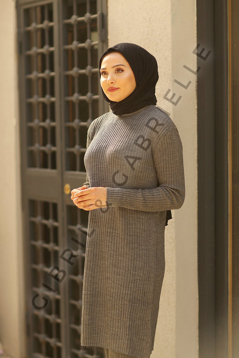 Zainab Antrasit Triko Takım